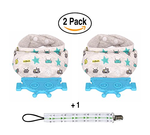 Cheap  Bandana Teething Bibs Baby Bibs Drool Bibs With Silicone Robot Teether Toy..