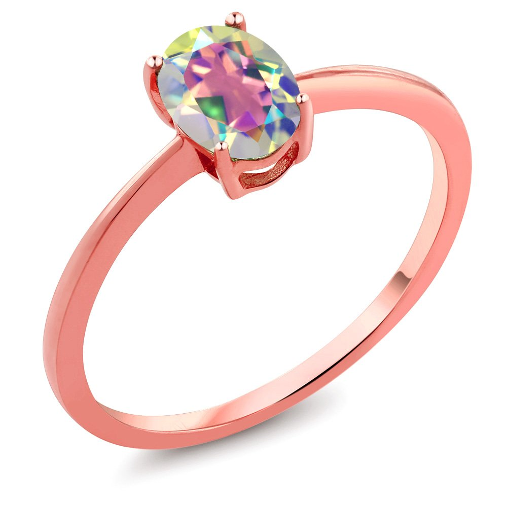 Gem Stone King 0.80 Ct Oval Mercury Mist Mystic Topaz 10K Rose Gold Ring (Size 8)
