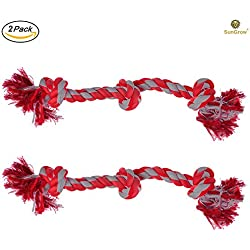 "2 Twisted Triple Knotted Rope Bone for Dogs (20"") by SunGrow - Heavy Duty Cotton - Brightly Colored Chew Play Toys, Suitable for even Medium & Large Breed Dogs : Cleans Pup's Teeth as they play"