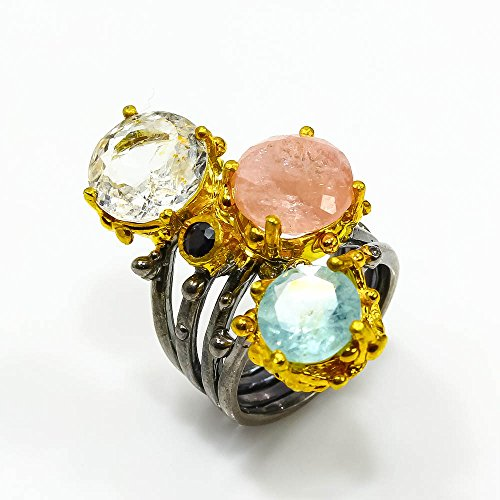 ONE OF A KIND NATURAL MULTI - COLOR BERYL RING SIZE 5.5 US ()