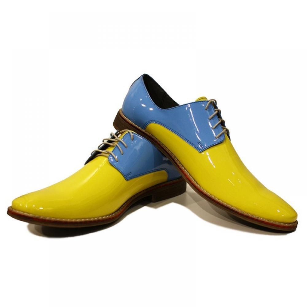 Modello Virgilio - Handgemachtes Italienisch Leder Herren Gelb Oxfords Abendschuhe Schnürhalbschuhe - Rindsleder Lackleder - Schnüren