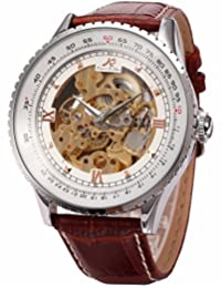 KS Carving Golden Skeleton Auto Mechanical Brown Leather Elegant Men's Wrist Watch KS111