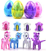 QINGQIU 4 Pack Jumbo Unicorn Deformation Easter Eggs with Toys Inside for Kids Boys Girls Easter Gifts Easter Basket Stuffer