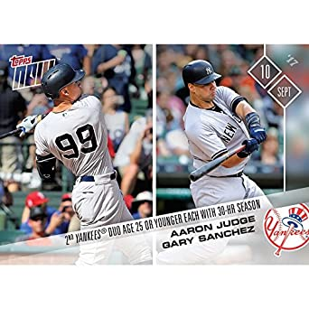 2b6b64528 Amazon.com  AARON JUDGE   GARY SANCHEZ NY 30 HR SEASON TOPPS NOW 2017 CARD   586 + TOPLOADER  Collectibles   Fine Art