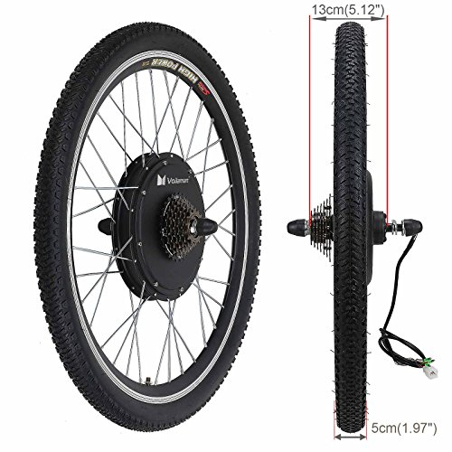 Voilamart 26'' Rear Wheel E-bike Hub 48V 1000W Electric Bicycle Conversion Kit Cycling Brushless Hub Motor w/ Intelligent Dual Mode Controller Restricted to 750W Secret Wire for Road Bike by Voilamart (Image #2)