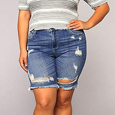 Women's Ripped Short Jeans Plus Size Clearance Sale! ???? NDGDA Ladies Destroyed Hole Stretchy Bermuda Shorts New Pocket Denim Summer Female Pockets Wash Short Pants: Toys & Games