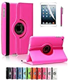 ipad 2 air case girls cool - Apple iPad Air 2 Case, CINEYO(TM) 360 Degree Rotating Stand Case Cover with Auto Sleep / Wake Feature for iPad Air 2 / iPad 6 (6th Generation) (Hot Pink)