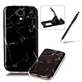 Shock Proof Case for Galaxy S4,Slim-Fit Soft Back Cover for Galaxy S4,Herzzer Fashion [Marble Stone Pattern] TPU Bumper Slim Gel Skin Rubber Flexible Shock Scratch Resist Case - Black