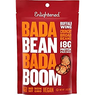 Bada Bean Bada Boom Plant-based Protein, Gluten Free, Vegan, Non-GMO, Soy Free, Kosher, Roasted Broad Fava Bean Snacks, Buffalo Wing, 3 Ounce (6 Count)