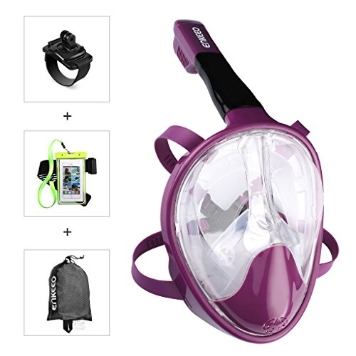 4 Lens Panoramic Purge Mask (Enkeeo 180°View Snorkel Mask - Panoramic Full Face Design , Anti-fogging & anti-leak snorkeling Diving Scuba Mask for Adults and Youth - Rose L/XL)