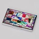 Mother of Pearl MOP Patchwork Design Business Credit Name Id Card Holder Case Metal Stainless Steel Engraved Slim Purse Pocket Cash Money Wallet with Patchwork Design