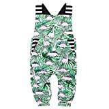 Toddler Baby Boy Girls Summer Jumpsuit Dinosaur Printed Overalls Sleeveless Bodysuit One Piece Clothes Set (Green, 0-6 Months)