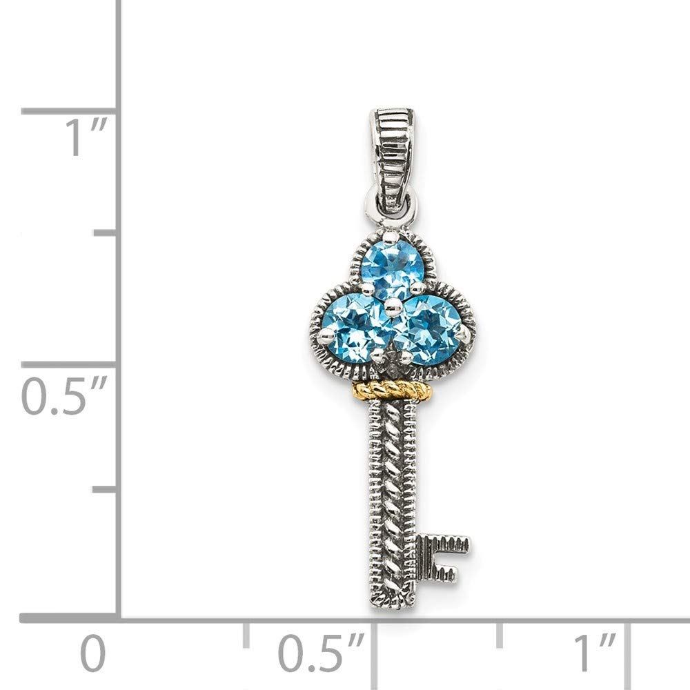 Roy Rose Jewelry Sterling Silver with 14K Yellow Gold Blue Topaz Antiqued Key Charm