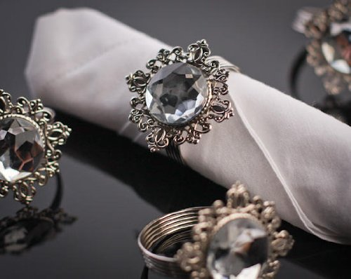 Set of 4 Stunning Silver Filigree Napkin Rings with Clear Rhinestone Centers