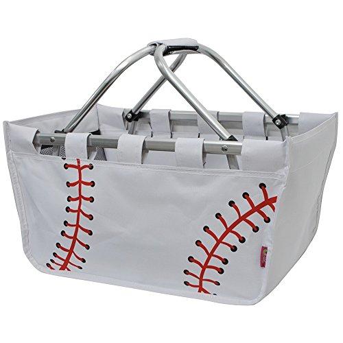 NGIL Baseball White Print Canvas Shopping, Market, Picnic Basket ()