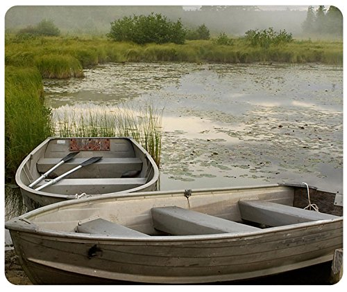 Rowboats In Misty Morning Lake Customized Rectangle Mousepad, Mouse Pad