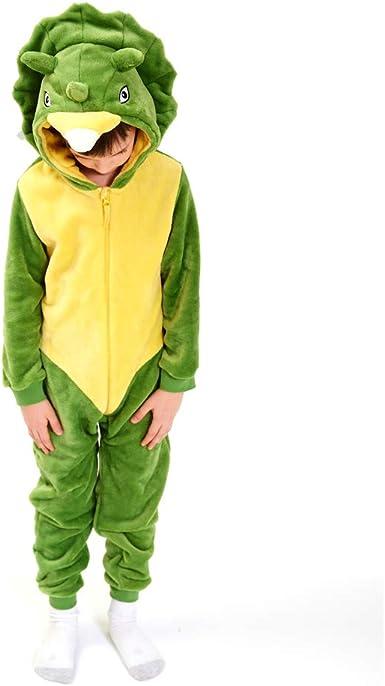 Kids Snug Fit Flannel Triceratops Costume Animal Onesie Pajamas for Boys Girls