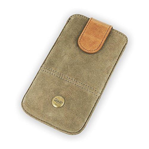 QIOTTI Q. Pochette alcan moyen en cuir véritable étui housse–Marron Sable