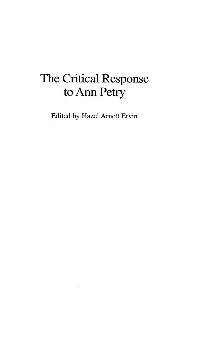 Read Online The Critical Response to Ann Petry (Critical Responses in Arts and Letters) ebook