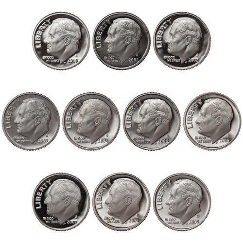 Deep Cameo Proof Roosevelt Dime - 2000-2009 S Roosevelt Dimes 90% Silver Gem Deep Cameo Proof Run 10 coin set