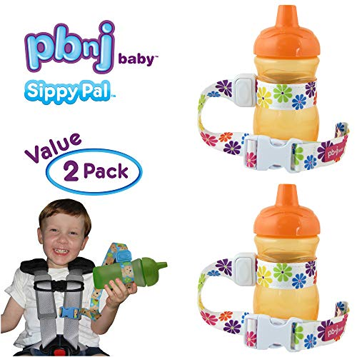 PBnJ Baby SippyPal Sippy Cup Holder Strap Leash Tether (Flower 2-Pack)
