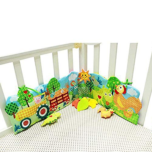Hosim Baby Crib Cloth Book Animal Puzzle Toys, Unfolding Activity Book Education Development for Kids - Newborn Rattle Crib Bed Gallery Bumper Pad 10 Pcs With Various Pattern