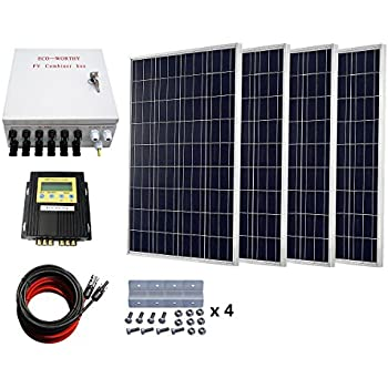 400 Watts Solar Panel Kit: 4pcs 100W Polycrystalline Solar Panel + 20A MPPT Charge Controller + Solar Combiner + Solar Cable Adapter + Z Mounting Brackets