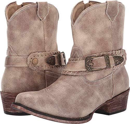 ROPER Womens Vintage Beige Faux Leather Nelly Cowboy Boots 7.5