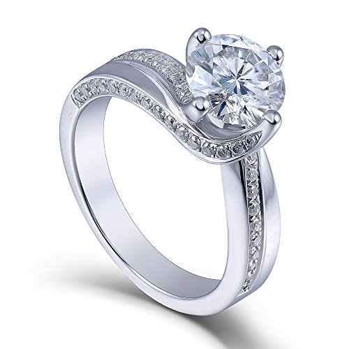 Center 1.5 Carat Color (G-H-I) Moissanite Stone Engagement Ring Solitare with Accents Platinum Plated Silver for Women(7)