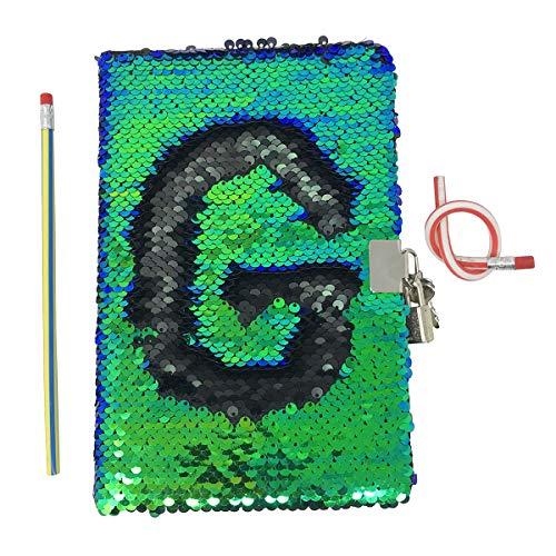 Nonrefillable Black Pen (Reversible Mermaid Sequin Journal Colorful DIY Kids Secret Diary,Cute Lockable Diary with Padlock & Keys(Green/Black A))
