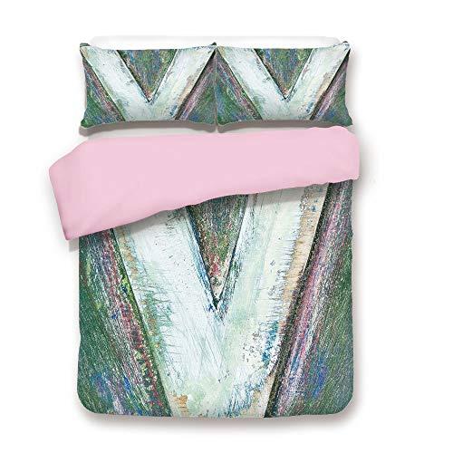 Pink Duvet Cover Set,Twin Size,Wooden Alphabet Block Capital Letter V Typographic Uppercase Symbol Vintage Design Decorative,Decorative 3 Piece Bedding Set with 2 Pillow Sham,Best Gift For Girls Women