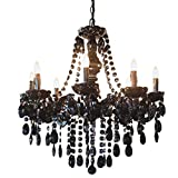 River of Goods 13488 Black Jeweled 24.5 Inch High Glam Chandelier, ,