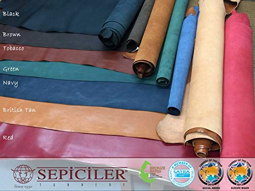 - Sepici Leather   Veg-Tanned, 5/6 Oz. (2.0-2.4mm) Drum Dyed, Various Color, All First Grade (Tobacco, 100 SQFT)