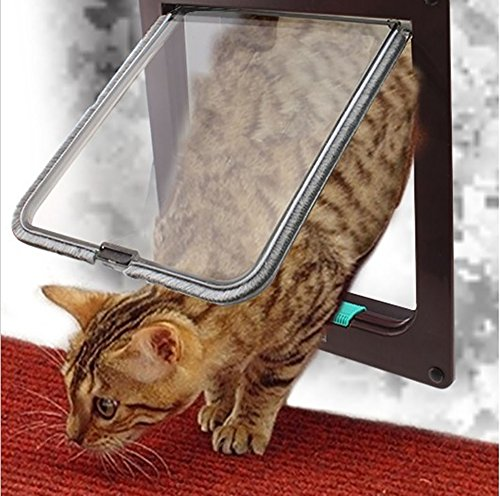 Lockable Cat Flap Door - Pevor Pet Flap Door With 4 Way Lock - Lockable Safe Flap Door – For Cat Kitten Dog, Brown Large, 9.2x10x2.2 in