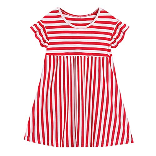 Little Me Plaid Dress Shirt - AutumnFall Mommy&Me Women Baby Girls Family Summer Sleeveless Stripe Print 4th of July Dress Independence Day Family Pack (Age:6-7Years, Red)