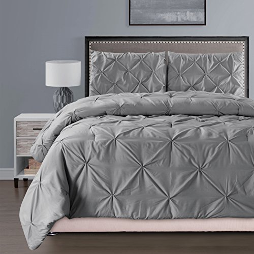 4 Pieces Solid Grey Pinch Pleat Duvet Cover Set QUEEN Size
