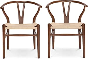 VODUR Wishbone Chair Natural Solid Wood Dining Chair/Hans Vegner Y Chair Rattan and Wood Accent Armrest Chair (Beech Wood - Brown)