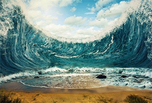 AOFOTO 8x6ft Rough Sea Waves Backdrop Photography Background Billowy Ocean Man Adult Boy Artistic Portrait Natural Scenic Photo Shoot Studio Props Video Drop Vinyl Wallpaper - Waves Rough