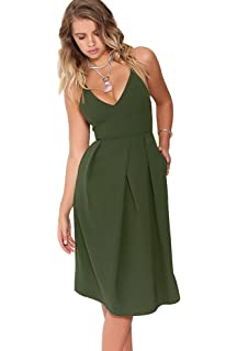 5d2dadd65205 Eliacher Women s Deep V Neck Adjustable Spaghetti Straps Summer Dress  Sleeveless Sexy Backless Party Dresses with
