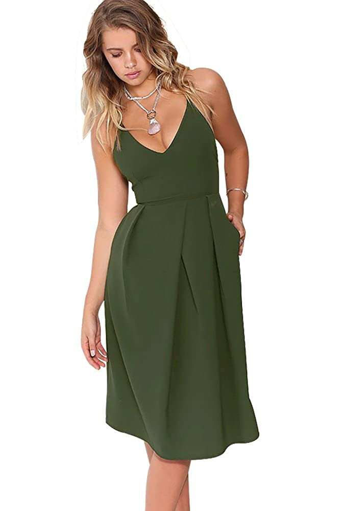 Eliacher Women s Deep V Neck Adjustable Spaghetti Straps Summer Dress  Sleeveless Sexy Backless Party Dresses with Pocket at Amazon Women s  Clothing store  93557f14e1be