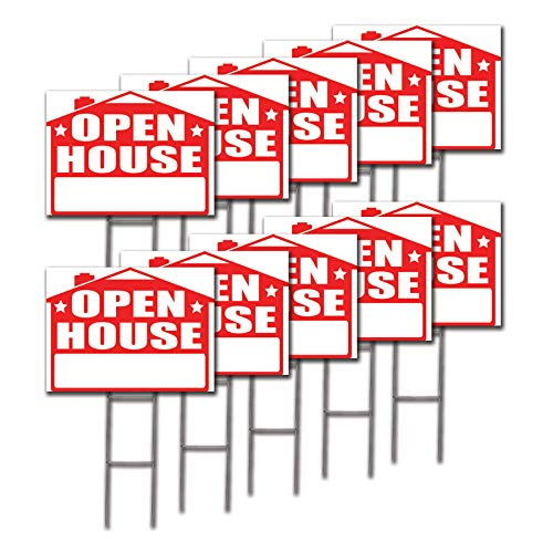 Sign Double Arrow (Visibility Signage Open House Lawn Sign Kit and Giant Arrow Stickers (10))