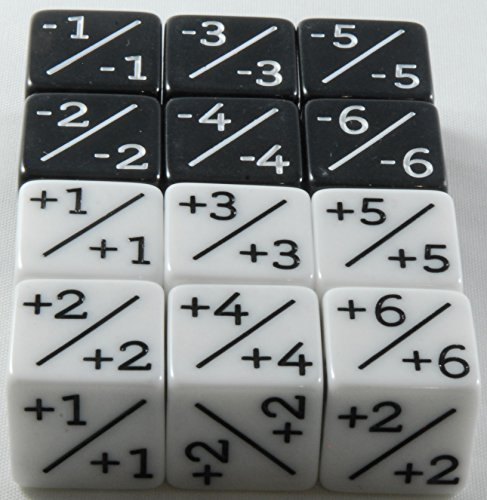 12x Dice Counters, 6x White +1/+1 and 6x Black -1/-1 for Magic the Gathering