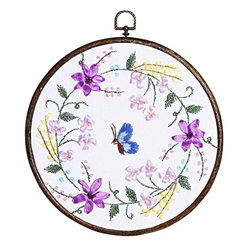 Ribbon Embroidery Kit For Beginner Flower Design DIY Home Wall Decor Floral Ring Purple with Antique Hoop
