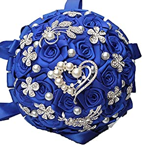 ONLY-FOR-ME-1 Royal Blue White Brooch Wedding Bouquets Silk Rhinestone Artificial Rose Flowers Bridesmaid Marriage Bouquets,As Pic 18cm4 111