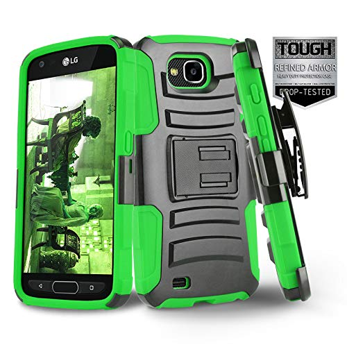 Phone Case for [LG X Venture (AT&T, US Cellular)], [Refined Series][Green] Shockproof Cover with [Kickstand] & [Holster Belt Clip] for LG X Venture (H700) AT&T, US - Us Cellular Phones Lg