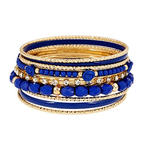 Superhai Bohemian Resin Diamond Flower Bracelet Beaded Bracelet Retro Fashion Multilayer