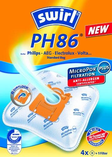 Swirl PH 86 AirSpace Staubsaugerbeutel für Philips Staubsaugerbeutel, saugstark, verschließbare Halteplatte, 4 Beutel + 1 Filter