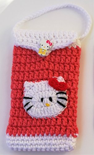 Cute Crocheted Cell Phone Case IPhone Android Bag Cases Hello Kitty Lovers Gifts