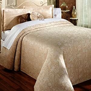 Provence Matelasse Bedspread, Queen Size Taupe Beige