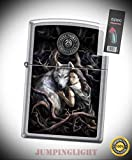 5815 Anne Stokes-Wolf with Woman Street Chrome Finish Lighter with Flint Pack - Premium Lighter Fluid (Comes Unfilled) - Made in USA!